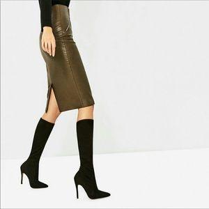 NWT ZARA Suede stiletto knee high boots sz 38